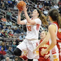 Sam Breen goes up for a basket against Lourdes Regional in the second half of the PIAA Class A championship in March at Giant Center in Hershey. Breen and the Trojanettes won, 56-33.