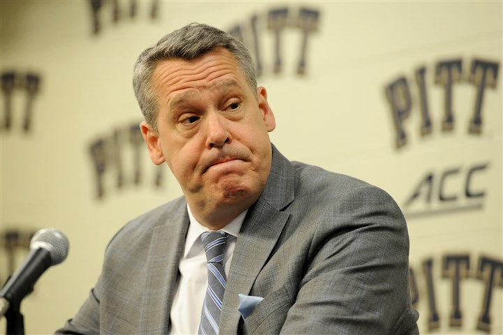 20160321mfpittsports01 Pitt athletic director Scott Barnes discusses the departure of head basketball coach Jamie Dixon to TCU at a news conference Monday at Petersen Events Center.