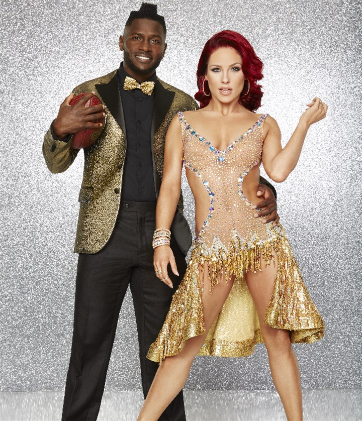"142706_Antonio-Sharna-1957r1 Steelers wide receiver Antonio Brown is paired with professional dancer Sharna Burgess for the new season of ""Dancing With the Stars."""