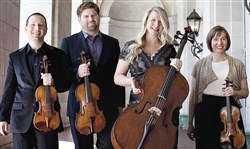 Cypress String Quartet, from left:  Tom Stone (violin), Ethan Filner (viola), Jennifer Kloetzel (cello), and Cecily Ward (violin).