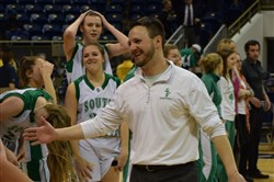 South Fayette's Matt Bacco congratulates his team after winning the WPIAL championship.