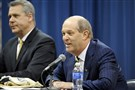 Pitt men's basketball coach Kevin Stallings, right, and his team will face a tougher nonconference schedule in his first season.