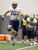 Pitt is embroiled in a five-team race for the ACC Coastal division crown, but Brian O'Neill (70), shown here during spring practice says he and his teammates can only focus on their next opponent, Virginia.