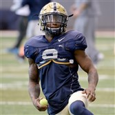Pitt's Jordan Whitehead warms up during a recent spring practice on the South Side.