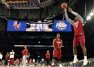 Oklahoma's Buddy Hield shoots during a practice session for the NCAA Final Four college basketball tournament Friday, April 1, 2016, in Houston.