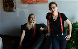 "Mixtape co-owners Elaina Holko, left, and Katie Molchan at their cafe, event space and ""music gallery"" in Garfield. Mixtape is the first business to receive a ""Worker-Approved Business"" designation by  Pittsburgh United and city Councilwoman Deb Gross."