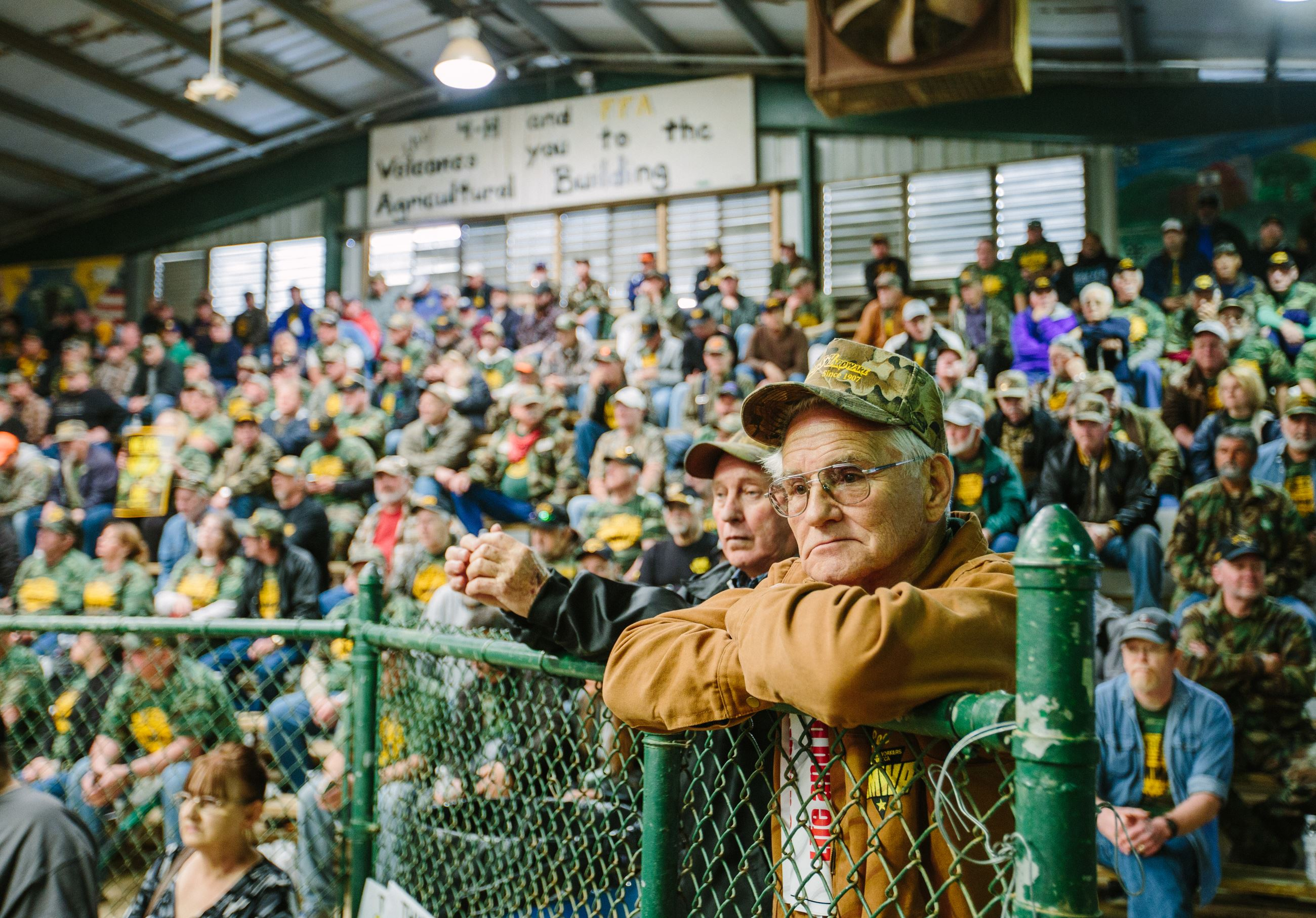 20160401arUMWA-March07-4 Lee Harris, of Rupert, W.Va., joins thousands of mine workers and supporters at the Greene County Fairgrounds in Waynesburg for a rally by the United Mine Workers of America on April 1.