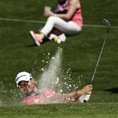 Jason Day hits out of a bunker on the second hole in a practice round Tuesday at the Masters in Augusta, Ga.