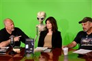 "John Ventre, left, of Greensburg talks with guests Rhonda Vari and Fred Saluga about ""UFOs Over Pittsburgh,"" and the paranormal at PCTV's studio on the North Side."