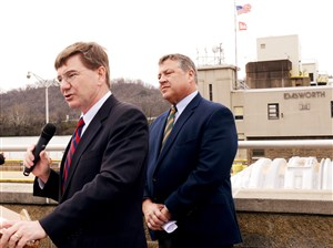 U.S. Rep. Keith Rothfus, left, and U.S. Rep. Bill Shuster speak at the Emsworth Lock and Dam earlier this year.