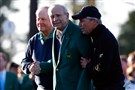 Honorary starters Jack Nicklaus, Arnold Palmer and Gary Player attend the ceremonial tee off to start the first round of the 2016 Masters Tournament at Augusta National Golf Club on Thursday.