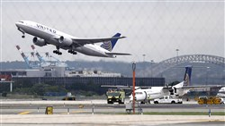 In this 2013 file photo, an airplane takes off from Newark Liberty International Airport, in Newark, N.J.