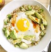 Quinoa Bowl with fried egg and avocado.