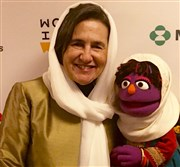 "Rula Ghani, the first lady of Afghanistan, meets Zari, the first female resident of the country's edition of ""Sesame Street."""