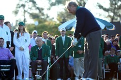 Jack Nicklaus, shown here hitting the ceremonial tee shot at the Masters, says Oakmont Country Club is a tough golf course because its members want it that way.