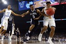 Villanova and North Carolina battle for the ball in the NCAA men's championship April 4 at NRG Stadium in Houston.