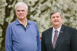 Jeff Rivard, formerly of the West Penn Golf Association, and Dennis Darak, of the Tri-State Section of the PGA of America, pose for a portrait at the offices of Tri-State PGA. Rivard retired at the end of 2015 and Dennis Darak plans to retire later this year.