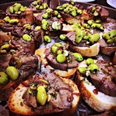 Chicken liver pate on crostini with pickled fava beans and chianti reduction, aka The Census Taker, was the Post-Gazette's entry in this year's  Hair Peace Charities' annual Recipes for a Cure fundraiser.