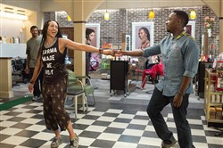 "Dean Cole, left, is Dante, Pittsburgh native Margot Bingham is Bree and Lamorne Morris is Jerrod in ""Barbershop: The Next Cut,"" opening in theaters Friday."