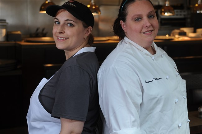 Lisa O'Connor, left, and Amanda Williams are pastry chefs at Six Penn Kitchen, Downtown.