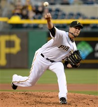 Pirates pitcher Ryan Vogelsong in action earlier this season. Vogelsong made a second rehabilitation start for AAA Indianapolis Wednesday night.