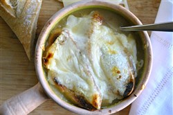 "French Onion Soup, from ""Cook, Pray, Eat Kosher: The Essential Kosher Cookbook for the Jewish Soul,"" is delicious and easy to make."