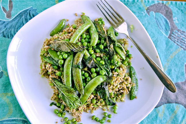 Cracked Wheat Pilaf with Spring Peas is a taste of spring.