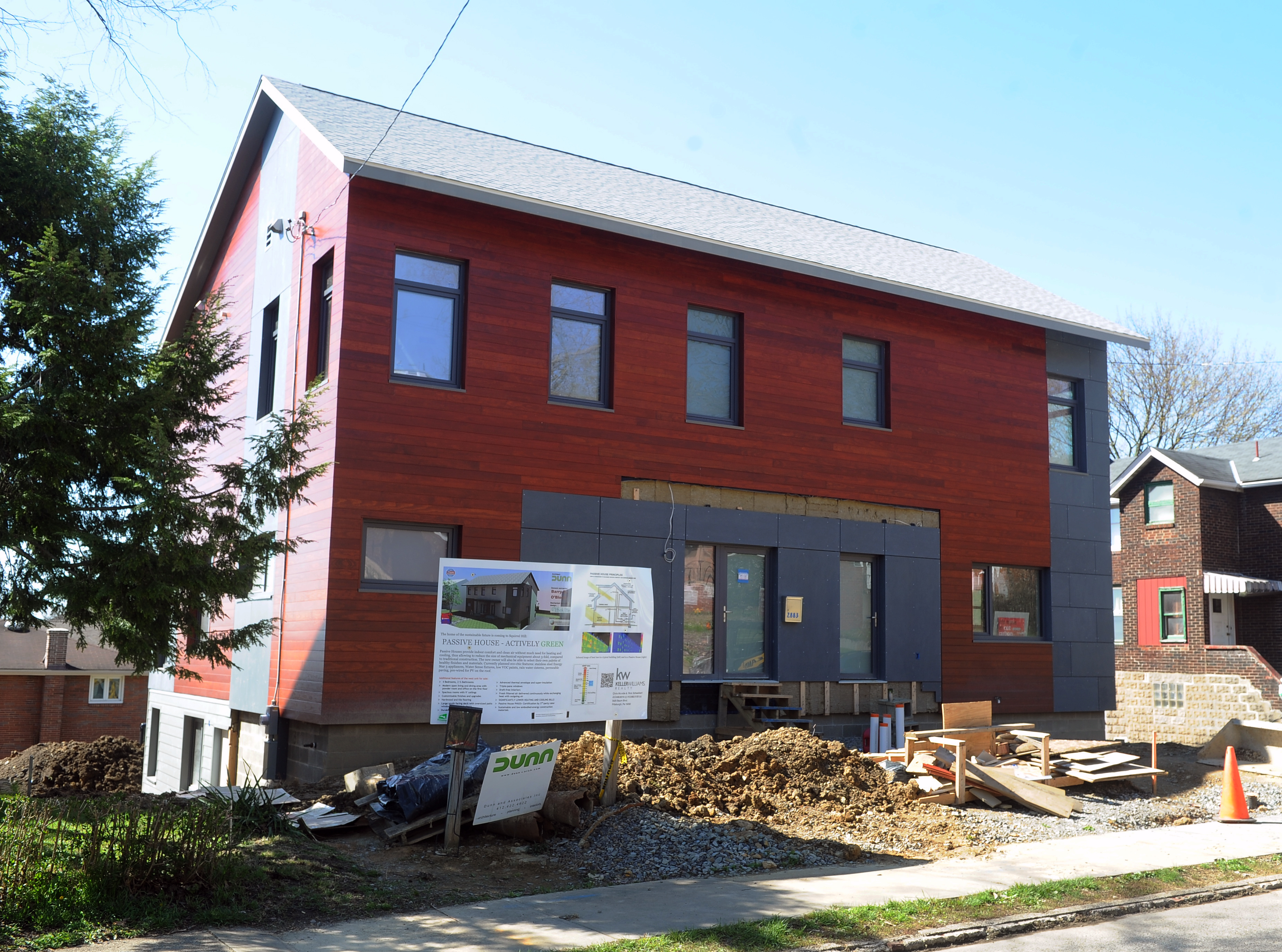 20160413ng-Greenbuilding1 A passive house, a low-energy consuming duplex, under construction on Fernwald Road is one of three projects across the state to receive a grant for high-performance green homes and small businesses.