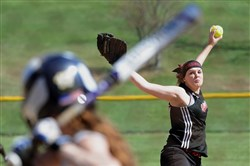 Elizabeth Forward starter Sarah Turek delivers a pitch against Belle Vernon at William Penn Elementary School last week. Moving the pitching mound back three feet has helped open up offense slightly in softball.