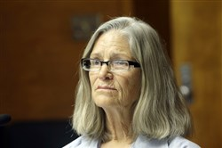 Former Charles Manson follower Leslie Van Houten is seen during a hearing before the California Board of Parole Hearings at the California Institution for Women in Chino, Calif., Thursday, April 14, 2016.