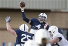 Penn State quarterback Tommy Stevens delivers a throw during Wednesday's practice in State College.