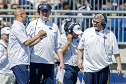 Penn State football coach James Franklin, left, Penn State coach James Franklin, left, is feeling confident about the new offense that coordinator Joe Moorhead, right, will unveil in the Nittany Lions' season opener today against Kent State at Beav... Abby Drey/Centre Daily Times via Associated Press