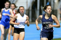 Vincentian's Marianne Abdalah pulls away from Oakland Catholic's Lauren Finikiotis in the 1,600-meter race two weeks again at the Tri-State Track Coaches Association Invitational at West Mifflin High School. Friday, Finikiotis got the better of Abdalah at the Mars Invitational.