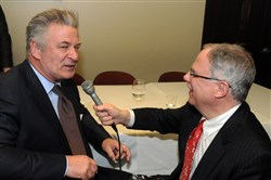 Alec Baldwin, left, talks Jim Cunningham of WQED.