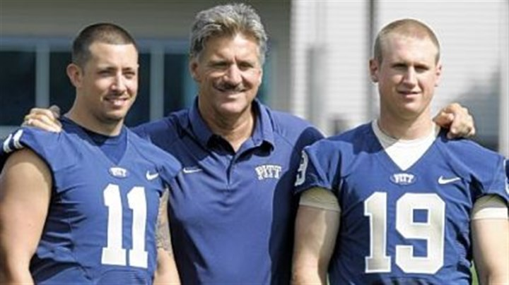 coach and quarterbacks Will Dave Wannstedt give Pat Bostick (#19) a fair shake? Pitt head coach Wannstedt is photographed along side quarterbacks Stull and Bostick during the team's 2009 media day Monday.