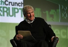 Bill Campbell, former chairman of the board and former chief executive of Intuit Inc., moderates a fireside chat with Ben Horowitz of Andreessen Horowitz during the TechCrunch Disrupt SF 2012 event in San Francisco.
