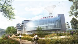 Artist's rendering of new construction planned for the Carnegie Science Center as seen from the riverfront trail.