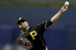 Pirates starter Francisco Liriano works against a San Diego Padres batter during the first inning April 19, 2016.
