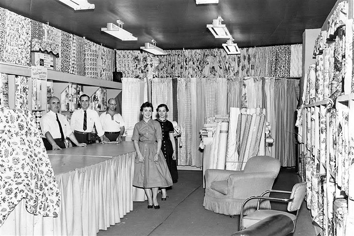 altmeyers_biz_01 At the 1957 opening of Altmeyer's custom drapery department within the flagship store in New Kensington stands, from left, founder George Altmeyer; Rod Altmeyer Sr.; and Bill Hild, decorator; along with Gretchen Altmeyer (Rod's sister), front, and Mary Leibel, sales.