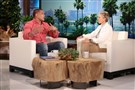 Pitt running back James Conner speaks with Ellen DeGeneres on the set of her daytime talk show in Los Angeles.