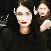 Full, defined brows on models backstage before the Salinas runway show at New York Fashion Week in February.