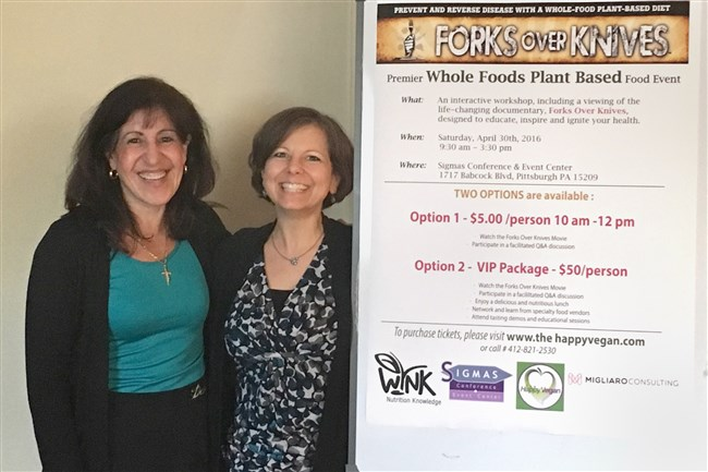 Dietitian Mary Jo Costello, left, and Happy Vegan owner Sharon Gregory will speak at a healthy foods event on April 30.