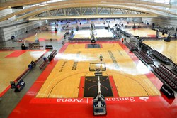 Two dozen basketball courts are set up at the David L. Lawrence Convention Center as part of the Pittsburgh Jam Fest event.