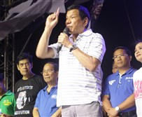 Rodrigo Duterte in April on the campaign trail
