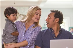 "From left, Ayden Bivek, Kate Hudson and Aasif Mandvi in ""Mother's Day."""