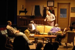 "Pittsburgh Playwrights Theatre Company's 2010 production of August Wilson's ""Jitney"" feature, from left, Joshua Elijah Reese, Lonzo Green, Sala Udin, Wali Jamal and Les Howard. Many from that production are returning for PPTC's reading of ""Jitney"" on Wilson's birthday, April 27, 2016. Missing will be Reese, who is on the West Coast, and Jamal, currently in a barebones production."