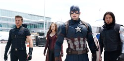 "Marvel's ""Captain America: Civil War,"" from left, Hawkeye/Clint Barton (Jeremy Renner), Scarlet Witch/Wanda Maximoff (Elizabeth Olsen), Captain America/Steve Rogers (Chris Evans), and Winter Soldier/Bucky Barnes (Sebastian Stan)."