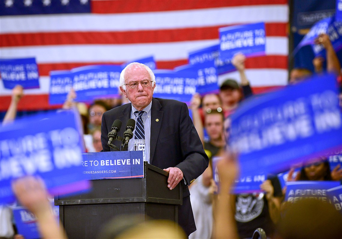 This file photo shows Senator Bernie Sanders addresses a crowd of supporters at University of Pittsburgh's Fitzgerald Field House.