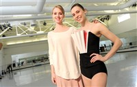 Pittsburgh Ballet Theatre principal dancer Amanda Cochrane with soloist Gabrielle Thurlow, who's wearing a costume Ms. Cochrane designed.
