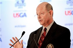 USGA executive director and CEO Mike Davis discusses the U.S. Open tournament at Oakmont Country during media day Monday.